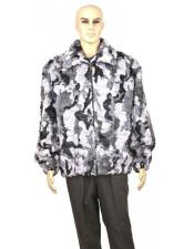 GD864 Mens Fur Genuine Mink Camo Print Pull Up
