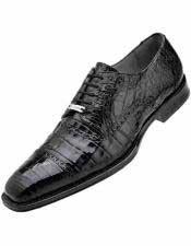 JSM-1219 Mens Belvedere Leather Crocodile Cap Toe Style Black