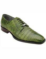JSM-1220 Mens Belvedere Leather Emerald Green Cap Crocodile Toe
