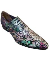 CH2422 Mens cap toe lace-up floral designed multicolor zota
