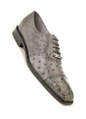 JSM-1342 Mens Belvedere Onesto Ostrich Crocodile Cap Toe Gray