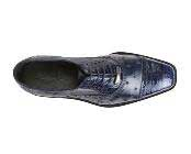 JSM-1345 Mens Belvedere Ostrich Crocodile Cap Toe Navy Shoes