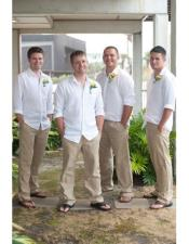 Linen Fabric Casual Groomsmen Attire