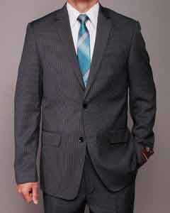 SC2589 Dark Grey Masculine color Pinstripe 2-button Slim-fit Suit