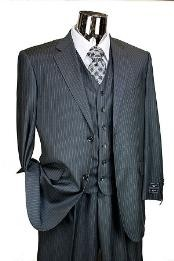 JR7834 Dark Grey Masculine color Pinstripe 3pc 2 Button