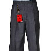 DarkGreyMasculinecolorGreyWoolFabricSingle-pleatPants