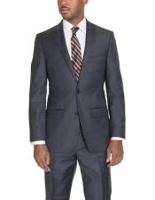 JSM-6102 Mens Solid Charcoal Gray 2 Button Notch Lapel