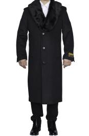 SM4804 Mens Removable Fur Collar Full Length Wool Dress