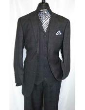 JSM-6816 mens Charcoal Grey Single Breasted Wool Plaid vested