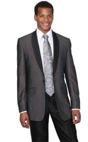 PN_L43 Dark Grey Masculine color Shawl Collar Tuxedo Slim