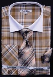 AC-452 Checker Pattern Dress Fashion Shirt/ Tie / Hanky