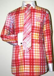 AC-467 Checker Pattern Dress Fashion Shirt/ Tie / Hanky