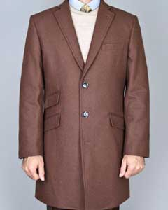 UML1744 Chestnut Wool Fabric Single Breasted Carcoat