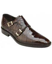 GD1748 Mens Double MonkStrap Chocolate Genuine Alligator Plain Toe