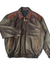 AP622 G-Gator - 3001 Chocolate Zipper Closure Alligator/Lamb Bomber
