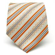 KA3178 Slim narrow Style Classic Orange Striped Necktie with