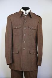 JA87 Mens Naval Style High Collar Wool Zoot Suit