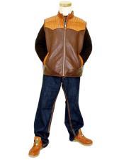 GD999 G-Gator Mens Cognac/Dark Brown Genuine Hornback Alligator Vest