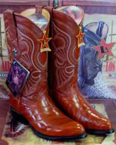 EF1 Authentic Los altos Cognac Genuine Eel Western Cowboy