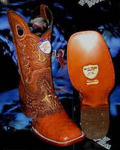 V-48F Wild West Genuine Ostrich Square Cognac Rodeo Western