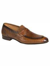 MO557 Mezlan Brand Cognac Genuine Lizard Loafer Shoes