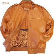 KA9801 Leather Bomber Jacket Soft Lambskin Cognac tanners avenue
