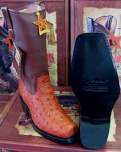 JK893 Authentic Los altos Cognac Genuine Ostrich Western Cowboy