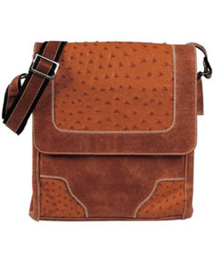 QL-28 Cognac Ostrich Cross Body Bag