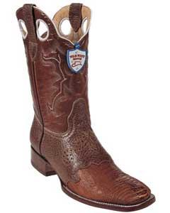 BQ4521 Wild West Cognac Ostrich Leg Wild Rodeo Toe