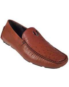KA5546 Cognac Full Quill Ostrich Driver Vestigium Driving Shoes