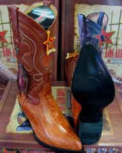 KH732 Authentic Los altos Cognac Genuine Ostrich Leg Western