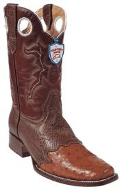SP8478 Wild West Cognac Ostrich Wild Rodeo Toe Boots