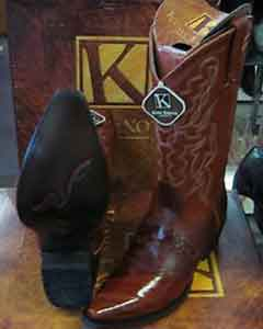 SS-9874 King Exotic Boots Cognac Snip Toe Genuine Eel