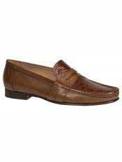 MO559 Mezlan Brand Cognac ~ Tan Genuine Crocodile Loafer
