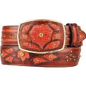 AA533 Cognac Original Lizard Teju Skin Fashion Western Belt