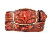 SM302 Fashion Western Belt Cognac Original Lizard Teju Skin