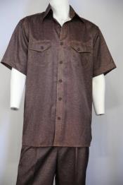 JA123 Mens Sharkskin Short Sleeve Dual Pockets Walking Suit