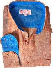 Copper Linen Dress Shirt