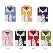AB120 Cotton Blend Striped Dress Shirt Spread Collar French