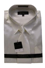 GJ766 New Cream Ivory Satin Dress Shirt Tie Combo
