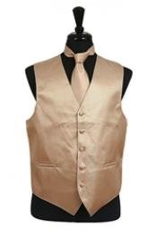 VS2024 Horizontal Rib Pattern Vest Tie Set Cream