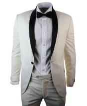 GD1815 Mens 1 Button Cream ~ Ivory Black Shawl