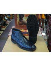 JSM-6392 Los Altos Mens Genuine All Crocodile Caiman Navy