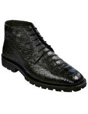 JSM-6391 Los Altos Mens Genuine All Crocodile Caiman Black