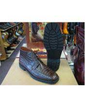 JSM-6438 Los Altos Mens Genuine All Crocodile Caiman Brown