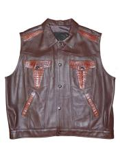 AP620 G-Gator Crocodile/Lamb Skin Buttons Closure Vest (Brown Or