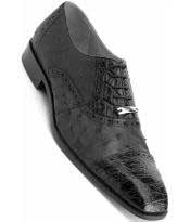 JSM-1344 Mens Belvedere Genuine Crocodiile Ostrich Black Shoes