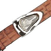 YR6592 Peanut Genuine Crocodile ~ Alligator skin Backstrap Belt