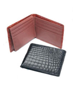 AC-153 Crocodile Billfold BlackCognacChocolate
