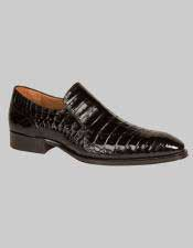 JSM-6015 Mens Mezlan Loafers Black Crocodile Exotic Skin Shoes